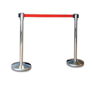 Серебристый столбик с красной лентой