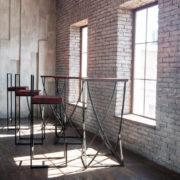 LOFT барный стул бордовый