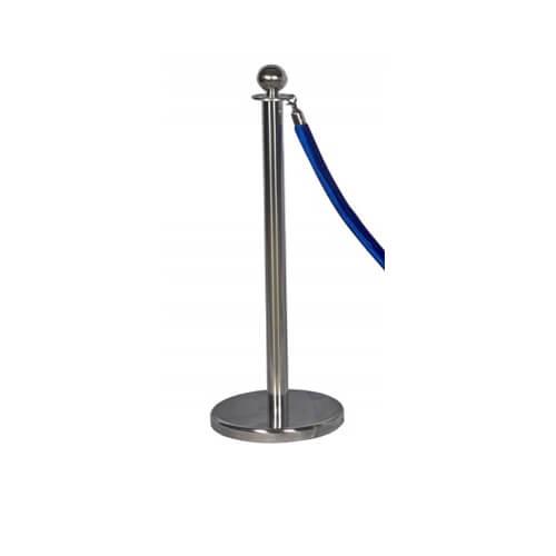 Хромированный столбик с синим канатом